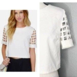 Mustard Seed White Caged Short Sleeve Top